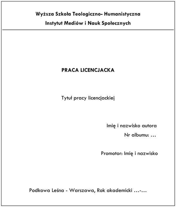 Zasady pisania pracy licencjackiej - Przykład strony tytułowej